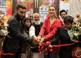 Nadia Hussain inaugurates the store along with Mr. Daniyal at the ribbon cutting ceremony of 1st Step